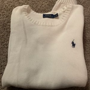 Polo ralph lauren sweater white with blue logo
